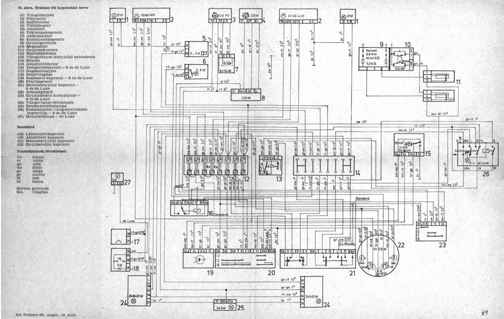 Schaltplan Trabant 601 12 Volt